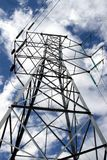 Steel tower. Electrical steel tower lines and blue sky Stock Images