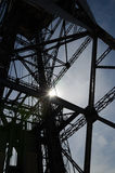 Steel tower silhouette. Silhouette of the structure of a steel tower Stock Photos