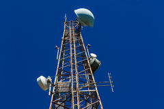 Steel Tower TV Radio Blue Stock Photos