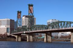 Steel train bridge in Portland. Stock Photo