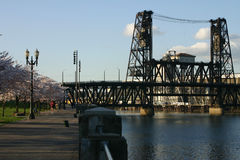 Steel train bridge in Portland. Royalty Free Stock Photos