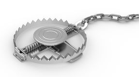 Steel trap on a white background Royalty Free Stock Images