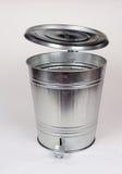 Steel trash can. Metal garbage Steel trash can Royalty Free Stock Photos