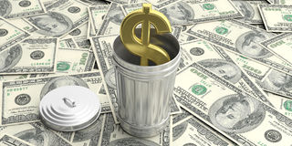 Steel trash can on American dollars background. 3d illustration Stock Images