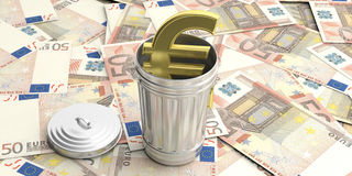 Steel trash can on euro banknotes background. 3d illustration. Golden euro symbol and steel trash bin on euro banknotes. 3d illustration Stock Image