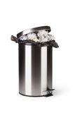 Steel trash can. Isolated on white Royalty Free Stock Images