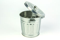 Steel trash can Stock Images