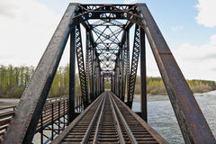 Steel trestle railway bridge Royalty Free Stock Image