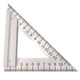 Steel Triangle Ruler on White Background Royalty Free Stock Photos