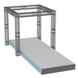 Steel truss girder rooftop construction. With outdoor festival stage. 3d render podium isolated on white Stock Photos