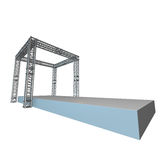 Steel truss girder rooftop construction. With outdoor festival stage. 3d render podium isolated on white Stock Photo