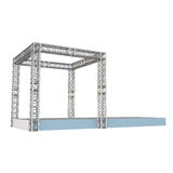 Steel truss girder rooftop construction. With outdoor festival stage. 3d render podium isolated on white Stock Images