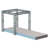 Steel truss girder rooftop construction. With outdoor festival stage. 3d render podium isolated on white Royalty Free Stock Photos