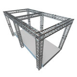 Steel truss girder rooftop construction. With outdoor festival stage. 3d render podium isolated on white Stock Photography