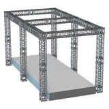 Steel truss girder rooftop construction. With outdoor festival stage. 3d render podium isolated on white Royalty Free Stock Photo