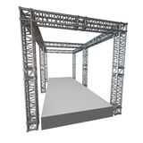 Steel truss girder rooftop construction. With outdoor festival stage. 3d render podium isolated on white Stock Image