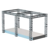 Steel truss girder rooftop construction. With outdoor festival stage. 3d render podium isolated on white Royalty Free Stock Images