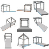 Steel truss girder rooftop construction. With outdoor festival stage set. 3d render podium isolated on white Royalty Free Stock Image