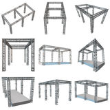 Steel truss girder rooftop construction. With outdoor festival stage set. 3d render podium isolated on white Royalty Free Stock Photography