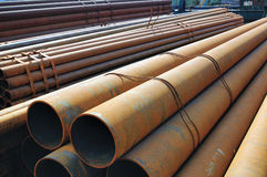 Steel tube. Some steel tubes in the factory Stock Photo