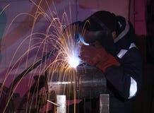 Steel tube MIG welding Stock Image
