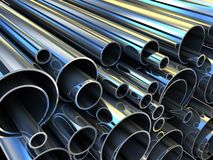 Steel tube. Steel Pipe, metal-roll (done in 3d Stock Images