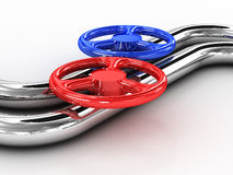 Steel tube with red valves. 3D image. Steel tube with red valves on white background. 3D image Stock Image