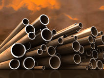 Steel tubes on atmospheric cloud background Royalty Free Stock Photography