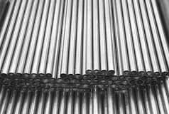 Steel tubes. Metal pipes Steel Black and white  industry background Royalty Free Stock Photography