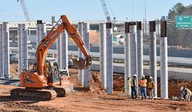 Steel and Tubes ready in highway construction project in Greenville County SC stock photo