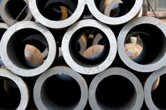 Steel tubing. Factory each other together of the tube royalty free stock photography
