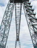 Steel uprights for bridge. Upright framework of steel bridge in symmetry Stock Photos