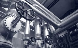 Steel valves, oil and gas valves in industrial zone royalty free stock photos