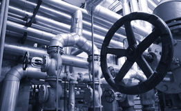Steel valves, oil and gas valves in industrial zone Royalty Free Stock Images