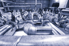 Steel valves, oil and gas valves in industrial zone. Stock Photo