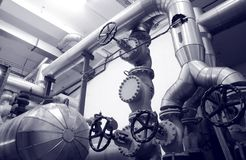 Steel valves, oil and gas valves in industrial zone royalty free stock photography