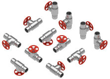 Steel valves set Stock Image