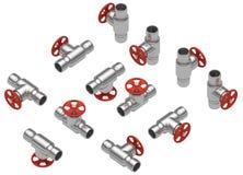 Steel valves set Stock Image