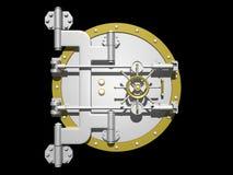 Steel vault door closed. Royalty Free Stock Photo