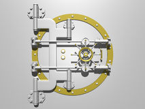 Steel vault door closed. Royalty Free Stock Images