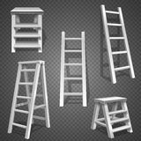 Steel vector staircases. Metal ladder, aluminum stairs vector. Set of ladders illustration Stock Image