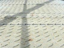 Steel walkway with railings shadows Royalty Free Stock Photos