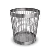 Steel Wastebasket. Illustration of steel wastebasket. White background Stock Photos