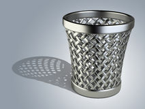 Steel wastepaper basket empty Royalty Free Stock Image