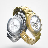 Steel watch and gold watch Royalty Free Stock Image