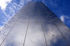 Steel water feature perspective in Cardiff Bay. Royalty Free Stock Photo