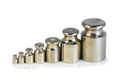 Steel weights. Steel weight for weighing on a white background Stock Images