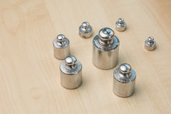 Steel weights. Series of steel weights, for precision balance Royalty Free Stock Image
