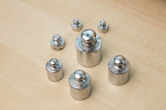 Steel weights. Series of steel weights, for precision balance Royalty Free Stock Photos
