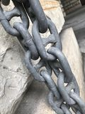 Welded chain. Steel welded chain links forged strength stock photography